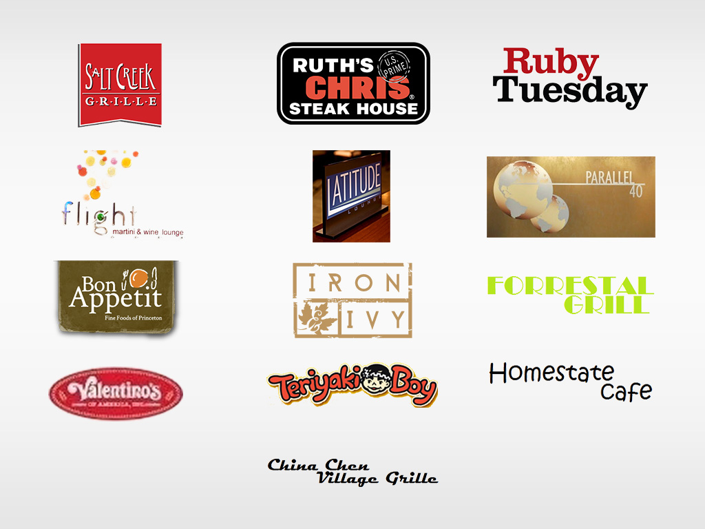 logos for Salt Creek Grille, Ruth's Chris Steak House, Tre Piani, Flight Martini & Wine Lounge, Ruby Tuesday, Parallel 40, Bon Appetit, Barley's Pub, Forrestal Grill, Valentino's Teriyaki Boy, Homestate Cafe, Latitude Lounge, China Chen Village Grille