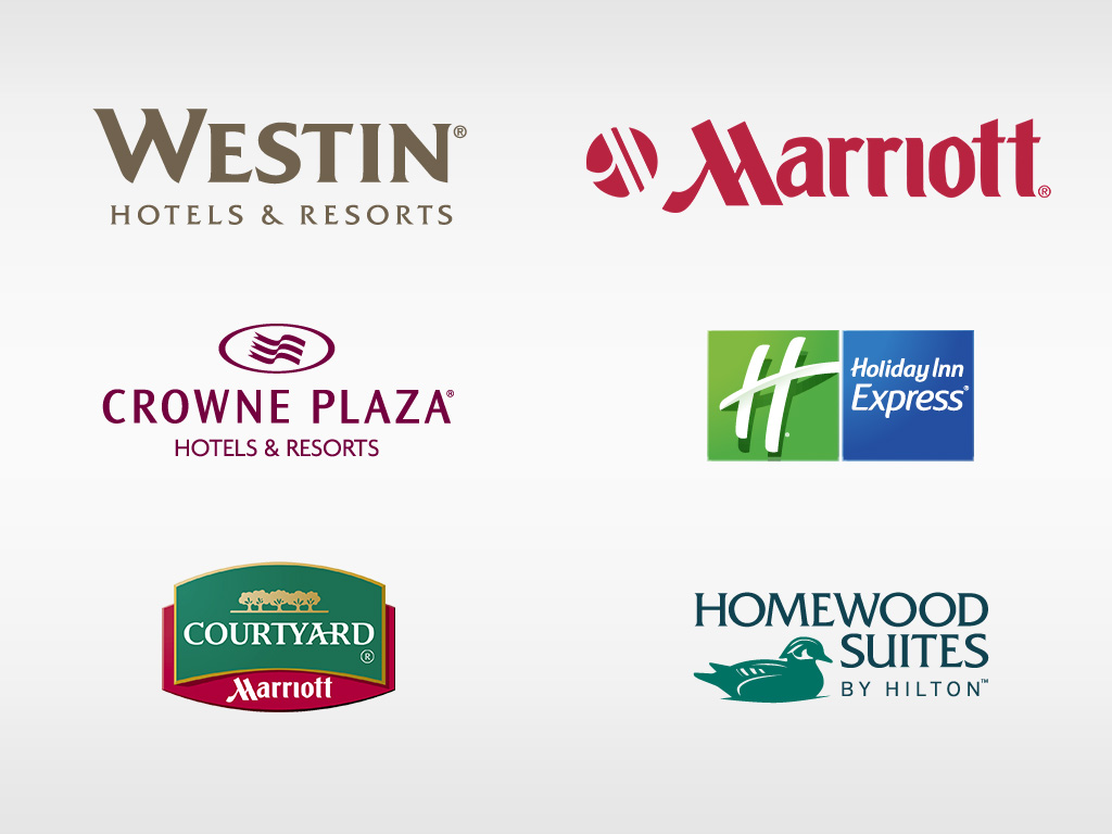 logos for Westin Hotels & Resorts, Crowne Plaza Hotels & Resorts, Courtyard by Marriott, Marriott, Holiday Inn Express, Homewood Suites by Hilton