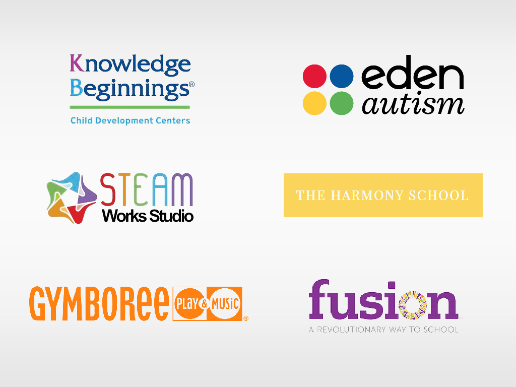 logos for Knowledge Beginnings, Eden Autism, Bright Horizons, The Harmony School, Seam Works Studio, fusion, and Gymboree