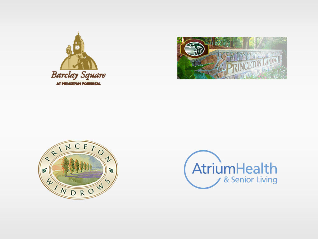 logos for Barclay Square, Princeton Landing, Princeton Windrows, AtriumHealth & Senior Living