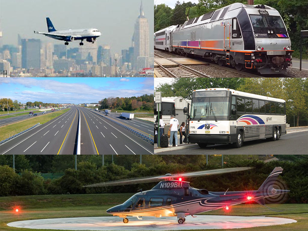 photos of an airplane, New Jersey Transit train, highway, New Jersey Transit bus, and helicopter on a landing pad